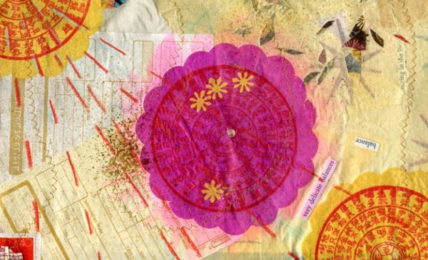 Mixed-media collage turned into a card by Jenna Rizzo