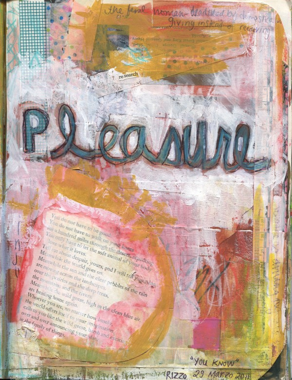 Mixed media painting in visual journal, rich with layers and layers of paper, tape, paint, pencil.